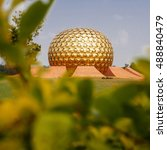 Small photo of Auroville meditation hall. Auroville is a human unity where people could live in peace and progressive harmony above all creeds, politics and nationalities. Pondicherry, Tamil Nadu state, India