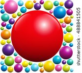 red ball surrounded by many... | Shutterstock .eps vector #488841505