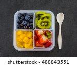 tasty raw fruits in plastic... | Shutterstock . vector #488843551
