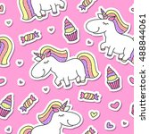 vector seamless pattern of cute ... | Shutterstock .eps vector #488844061