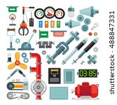 machinery flat icons.... | Shutterstock .eps vector #488847331