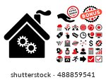 factory building icon with...
