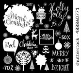 christmas holiday icons. merry... | Shutterstock .eps vector #488860771