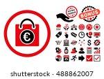 euro shopping bag icon with...