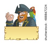 pirate with his parrot  and a... | Shutterstock . vector #488867224