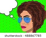 upset thoughtful woman in pop... | Shutterstock .eps vector #488867785