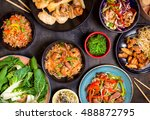 chinese food on dark wooden... | Shutterstock . vector #488872795