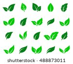 green leaves icons set on white ... | Shutterstock . vector #488873011