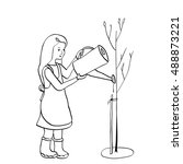 young girl watering a tree from ...