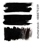 set of black brush strokes... | Shutterstock . vector #488875159