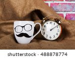 coffee cup with a comedy black... | Shutterstock . vector #488878774
