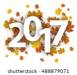2017 with autumn foliage on the ... | Shutterstock .eps vector #488879071