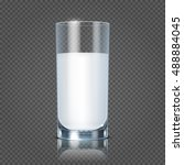 glass of milk isolated on... | Shutterstock .eps vector #488884045