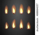 burning candle flame animation... | Shutterstock .eps vector #488884057