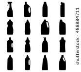 set of bottle silhouettes of... | Shutterstock .eps vector #488884711
