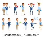 set of businessman characters... | Shutterstock .eps vector #488885074