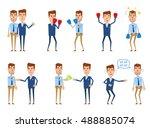set of businessman characters... | Shutterstock .eps vector #488885074