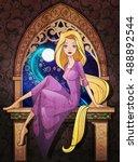 rapunzel fairy tale character... | Shutterstock .eps vector #488892544