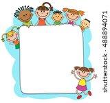 illustration of kids peeping... | Shutterstock .eps vector #488894071