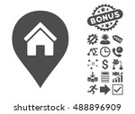realty map marker icon with... | Shutterstock .eps vector #488896909
