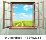 open window with view on green... | Shutterstock . vector #488902165
