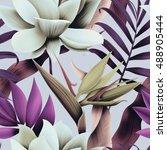 seamless tropical flower  plant ... | Shutterstock . vector #488905444
