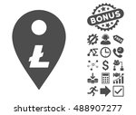 litecoin map marker icon with... | Shutterstock .eps vector #488907277