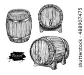 vector wooden barrel. hand... | Shutterstock .eps vector #488907475