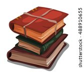 a stack of vintage books...   Shutterstock .eps vector #488910655