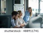 team of colleagues working... | Shutterstock . vector #488911741