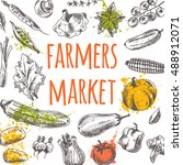 farmers market card with... | Shutterstock .eps vector #488912071