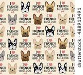 i love french bulldog seamless... | Shutterstock .eps vector #488912491