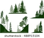 illustration with fir trees set ... | Shutterstock .eps vector #488915104