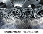 titanium and steel cogwheels... | Shutterstock . vector #488918785