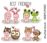 set of cute cartoon babies in... | Shutterstock .eps vector #488919085