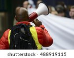 activist with the megaphone... | Shutterstock . vector #488919115