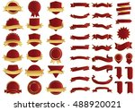 ribbon red vector icon on white ... | Shutterstock .eps vector #488920021