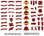 banner red vector icon set on... | Shutterstock .eps vector #488920051