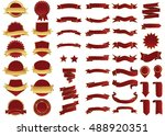 banner red vector icon set on... | Shutterstock .eps vector #488920351