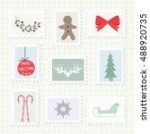 christmas postmark collection....   Shutterstock .eps vector #488920735