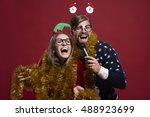having karaoke party during...   Shutterstock . vector #488923699