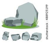 .stones on the grass. set of... | Shutterstock .eps vector #488925199