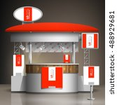 red exhibition stand design... | Shutterstock .eps vector #488929681