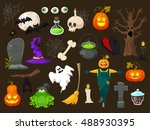 halloween  objects isolated on...   Shutterstock .eps vector #488930395
