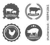 set of butcher shop labels and... | Shutterstock .eps vector #488941861