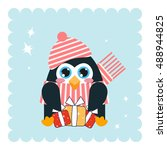 kawaii anime penguin with big... | Shutterstock .eps vector #488944825