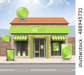green store design with... | Shutterstock .eps vector #488945731