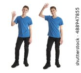 cute teenager boy in blue t... | Shutterstock . vector #488947855