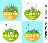 set of flat vector ecology... | Shutterstock .eps vector #488949355