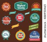 vintage retro flat badges... | Shutterstock .eps vector #488950465